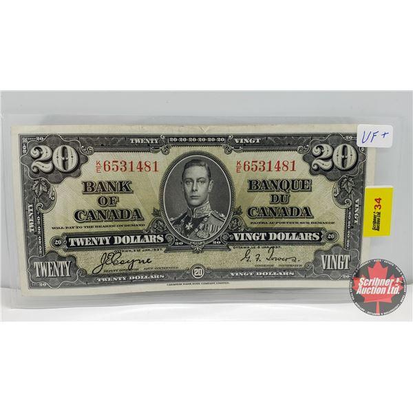 Bank of Canada $20 Bill 1937 Coyne/Towers #KE6531481