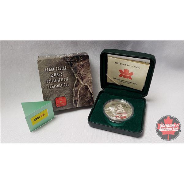 RCM 2003 Fine Silver Proof Dollar (99.99%) COA #21971