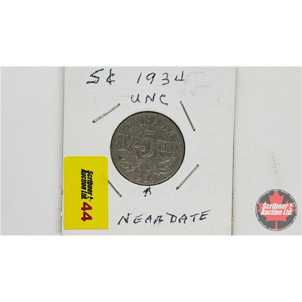 Canada Five Cent 1934 Near