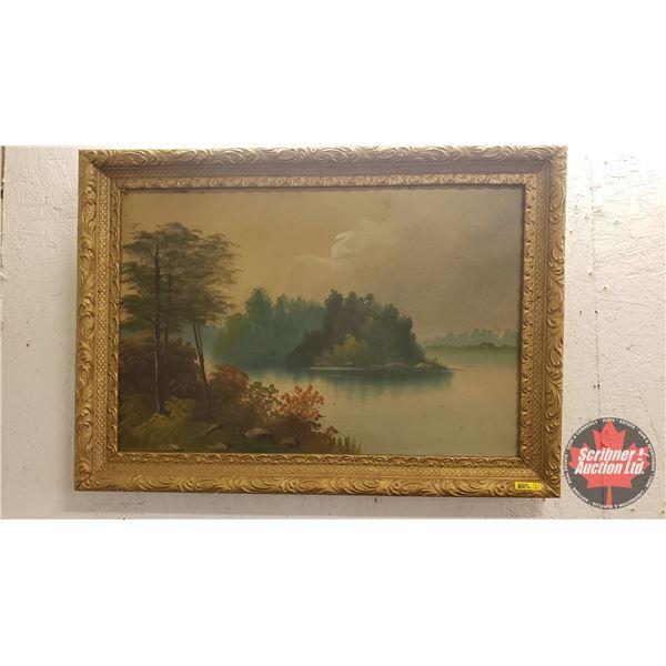 "Plaster Cast Frame w/Hardboard Painting ""Lake Scene"" (24""H x 33-1/2""W)"