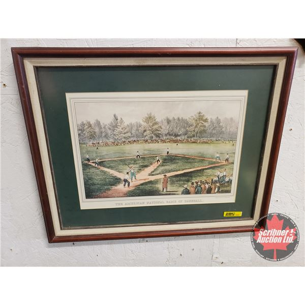 """Currier & Ives """"The American National Game of Baseball"""" Framed & Matted Print (16""""H x 20""""W)"""
