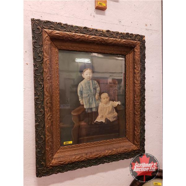 "Plaster Cast Frame ""Children's Portrait"" c.1900 (29""H x 24""W)"