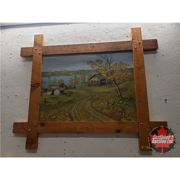 Oil Painting on Hardboard by Enoch Haglund, a Pioneer to Mallaig area, Alberta (Unique Frame) See Pi