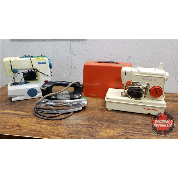 Young Lady Combo: Retro Mini Sewing Machines (2) & Electric Iron
