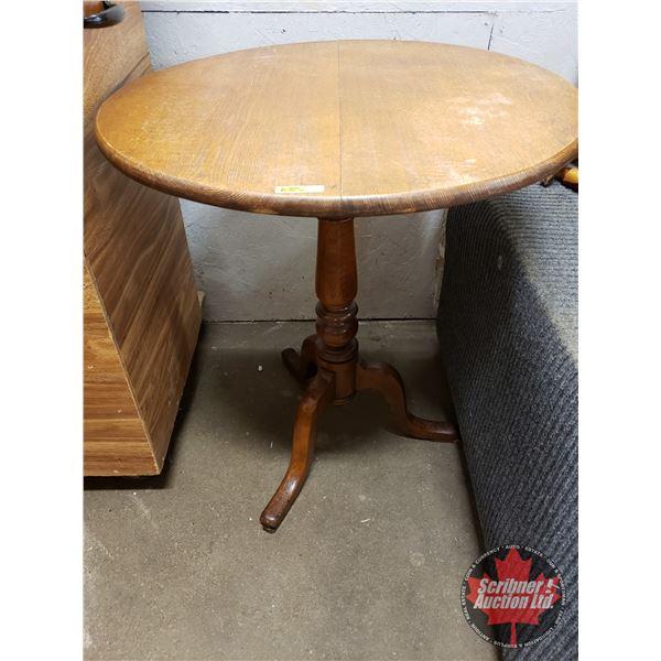 "Tilt-Top Wooden Pedestal Table (29""H x 26""Dia)"