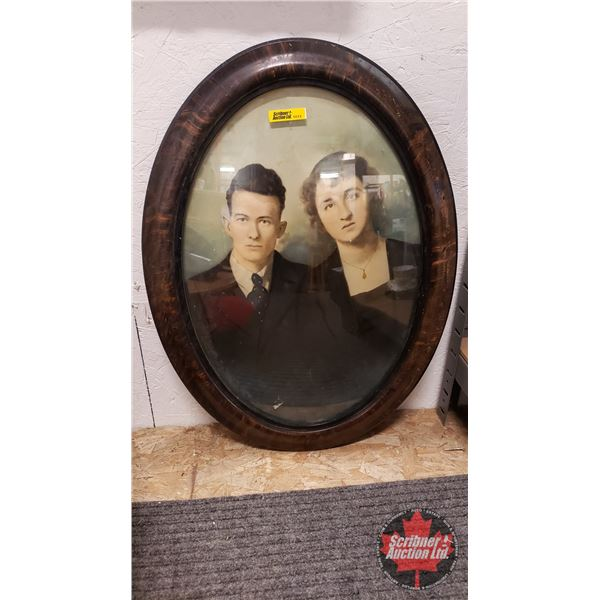 """Antique Portrait of 2 People : Oval Convex Glass Picture Frame (23""""H x 17""""W)"""