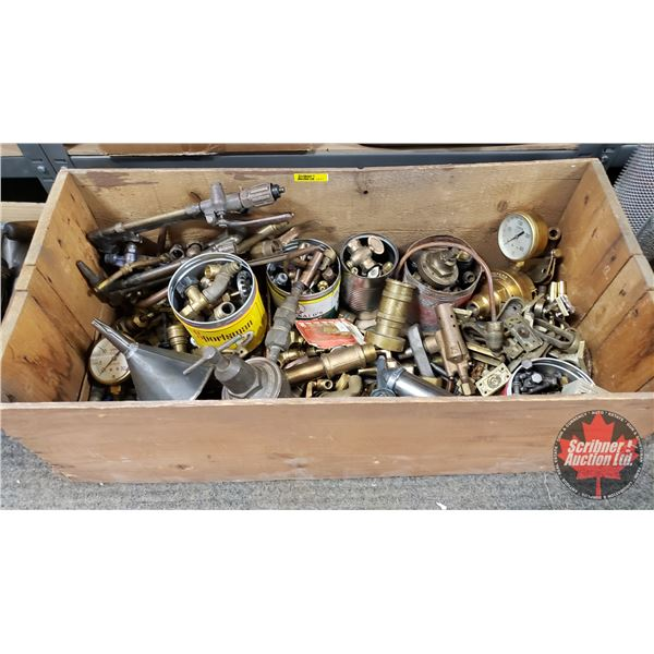 Wooden Box Lot: Variety of Brass Fittings, Little Grease Gun, Funnel, Torch Tips, etc
