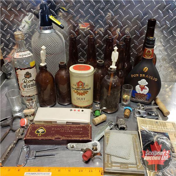 Tray Lot: Vintage Poker Night Theme (Cards, Bottle Openers, Jack Daniel's Stir Sticks, Seltzer Bottl