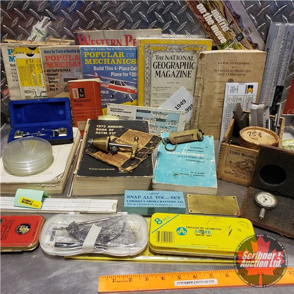 Tray Lot: Sewing Awl, Popular Mechanics Books, Faucet Reseating Tool, National Geographic's, Slide C