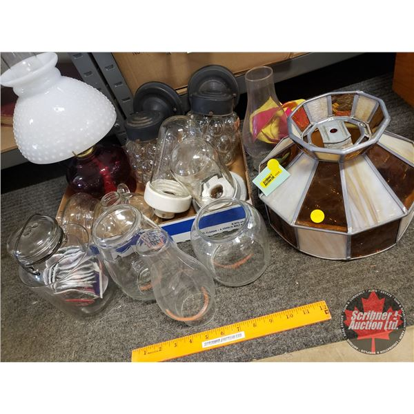 Variety of Lantern Globes, Chimneys, Industrial Light Up Fixtures, Stain Glass Lamp Shade, Oil Lamp,