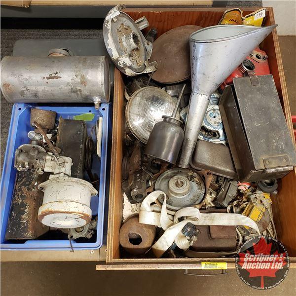 Wooden Drawer Tray Lot: Automotive Parts, Carburetors, Gas Tanks, Recoils, Funnel, Bearings, etc (Se