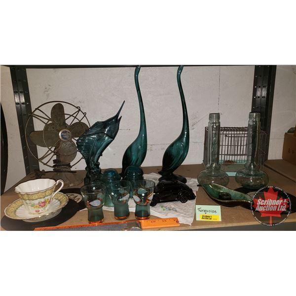 Turquoise Combo: BMP Birds (Cranes) & Candle Holder, Mini Bird Cage, Desk Fan, Liqueur Glasses, Tea