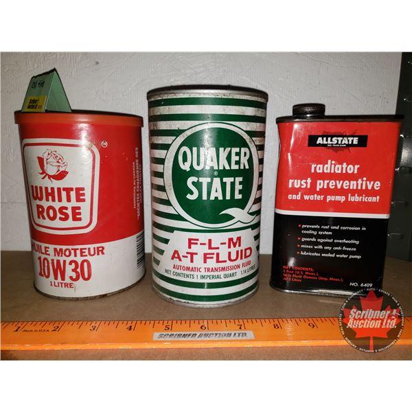 Oil Tin Trio: Quaker State, White Rose (Cardboard), All State Radiator Additive (See Pics!)