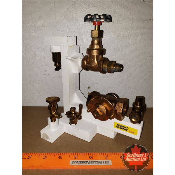 """Steam Punk Diorama of Brass Fittings (9""""H x 9""""W x 5""""D) (Custom by Larry Charlebois)"""