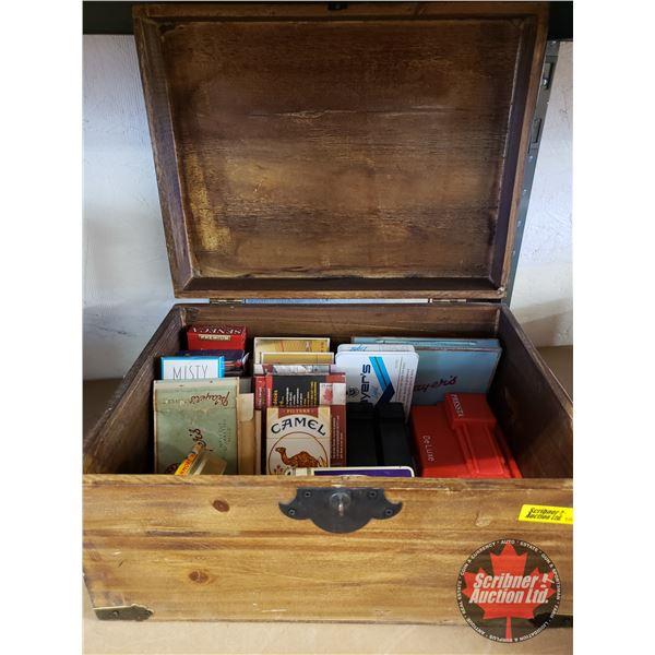 "Wooden Chardonnay Box w/Cigarette Tins & Makers, etc! (Box = 7""H x 14""W x 10""D) See Pics!"