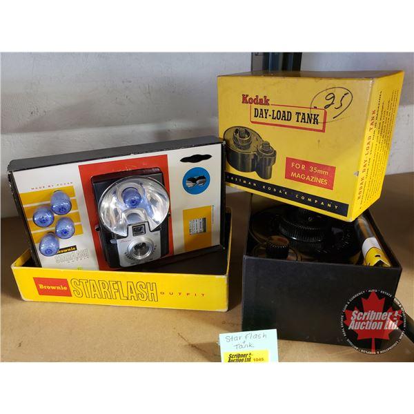 Kodak Brownie Starflash & Day-Load Tank for Developing (in orig. box)