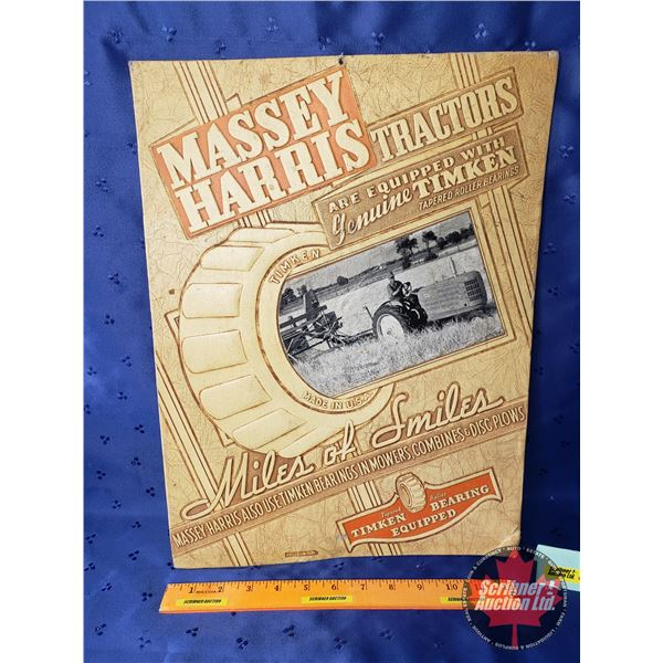 """""""Massey Harris Tractors"""" Pressed Cardboard Ad Sign """"Miles of Smiles"""" Made in USA (17-1/4""""H x 13""""W)"""