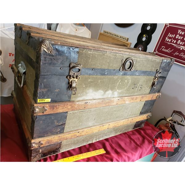 "Wood Slat Trunk (Metal/Wood) with Tray (21""H x 32""W x 18""D)"