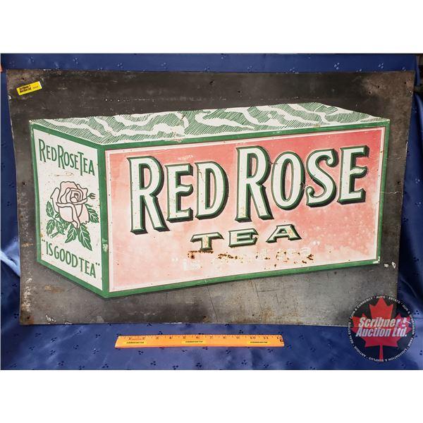 "Single Side Tin Sign ""Red Rose Tea"" (19-1/4""H x 29-1/4""W)"