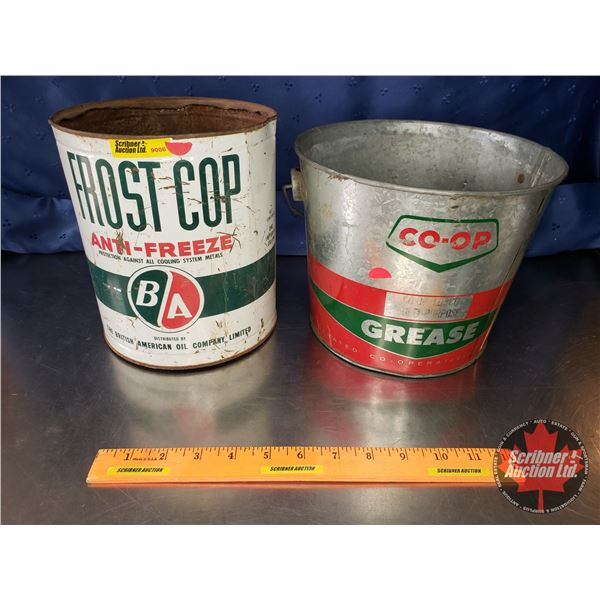 """Collector Combo: B/A Frost Cop Tin Anti-Freeze (8""""H x 7""""Dia) & Co-Op Grease Pail (7-1/4""""H x 9""""Dia To"""