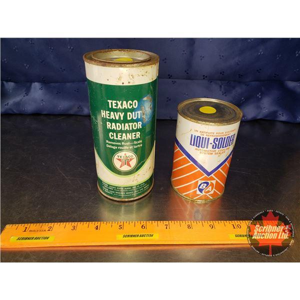 "Collector Combo Tins (2) Both Full : Texaco Heavy Duty Radiator Cleaner Tin (6-1/2""H x 3""Dia) & Liqu"