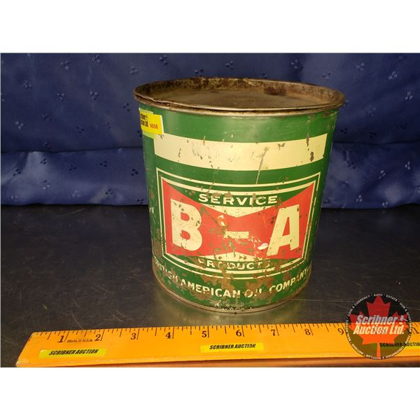 """B-A Bow Tie Tin (Full) """"The British American Oil Company"""" (6-1/4""""H x 6-1/4""""D)"""