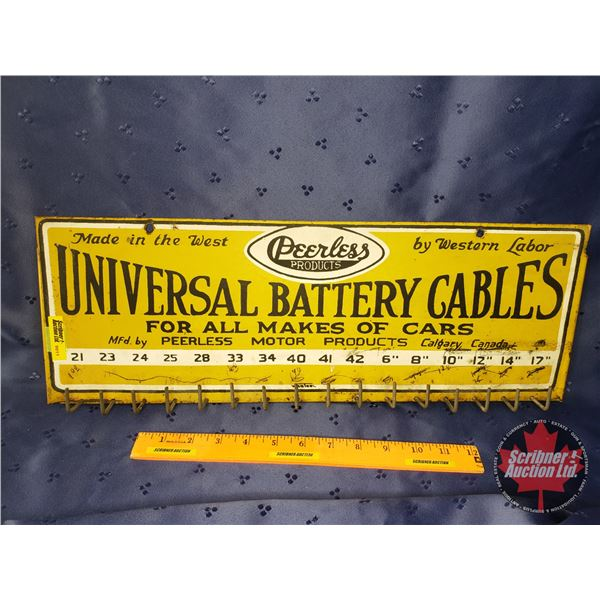 """Service Station/Display Rack """"Peerless Products"""" """"Universal Battery Cables"""" (7""""H x 20""""W x 3/4""""D)"""