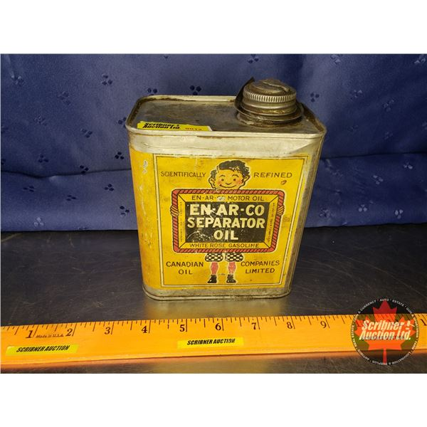 """EN-AR-CO Tin """"Separator Oil"""" (Canadian oil Companies Limited) """"White Rose Gasoline"""" (5-1/4""""H x 4-3/4"""
