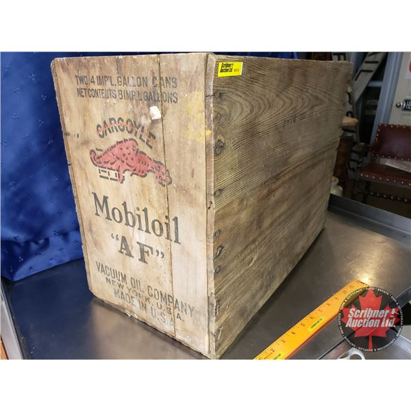"""Wood Crate: Gargoyle Mobil Oil """"AF"""" Vacuum Oil Company (New York, USA Made in USA) (15-1/4""""H x 21""""W"""