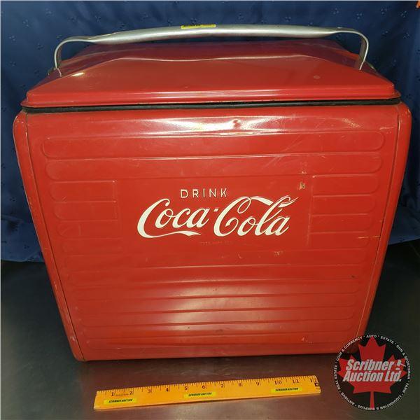 """Drink Coca-Cola"" 1955 Picnic Cooler w/Sandwich Tray (16""H x 17""W x 13""D)"