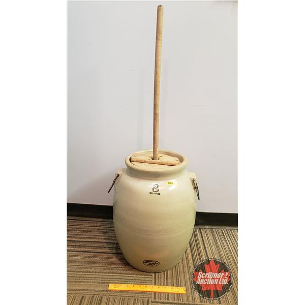 "8 Gallon Medalta Butter Churn w/Paddle (Crock = 19-1/2""H)"