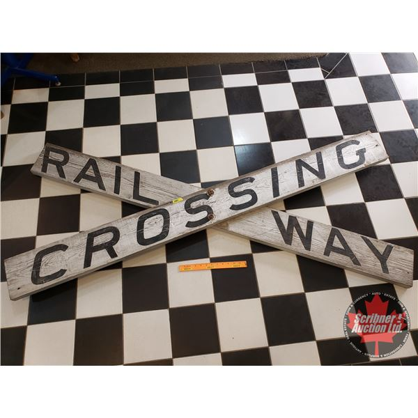 """Wooden Railway Crossing Sign (Double Sided) (71-1/2""""H x 32-1/2""""W x 3""""D)"""