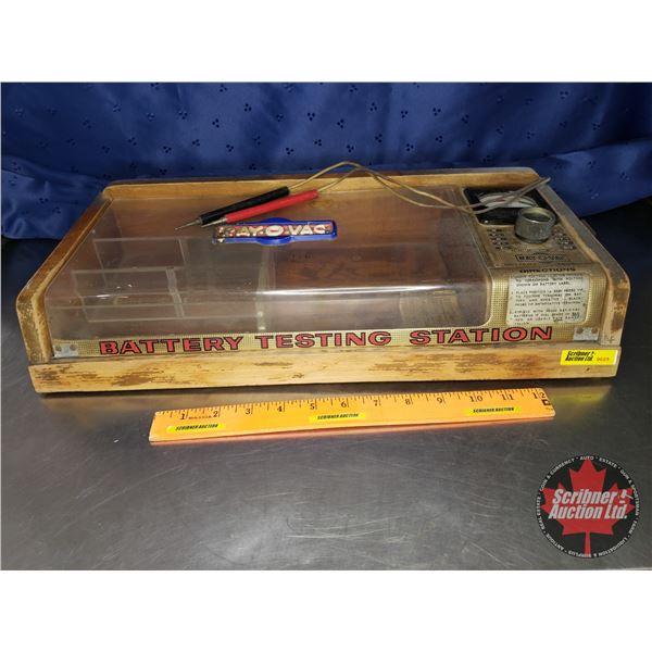"Battery Testing Station ""Ray-O-Vac"" (19""W x 9-1/4""D x 3-1/2""H)"