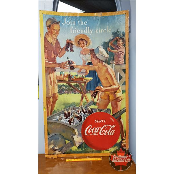 """""""Serve Coca-Cola"""" Double Sided Cardboard Ad Sign (50""""H x 29-1/2""""W) """"Lithographed in Canada"""" (Spring/"""