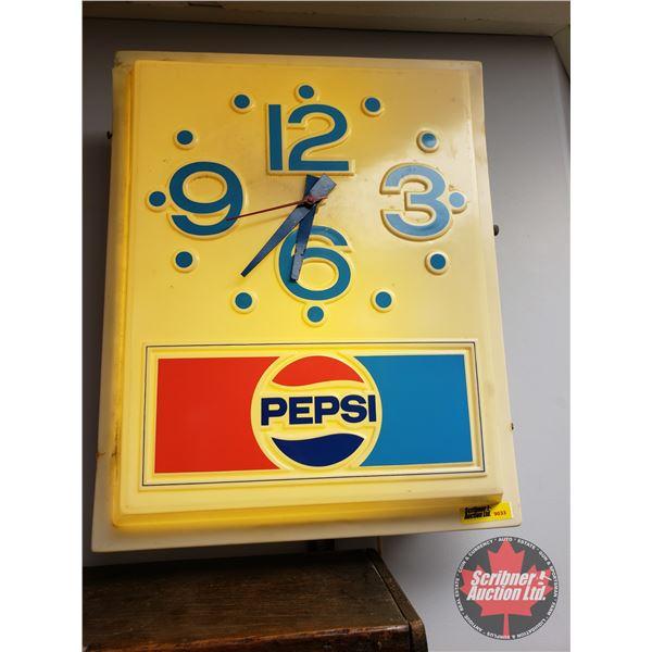 """Pepsi"" Lighted Clock (16-1/2""H x 13-1/4""W x 5""D)"