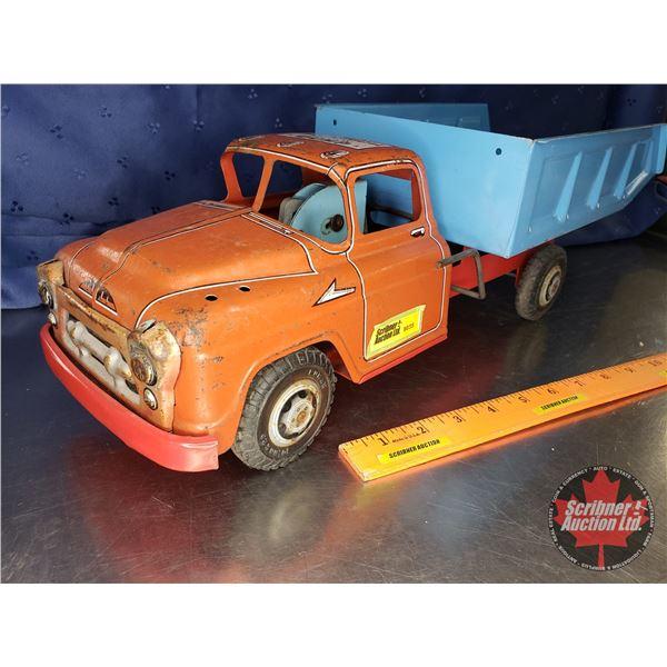 "Mechanical Action Dump Truck Tin Toy (20""L x 7-1/4""W x 6-1/4""H)"