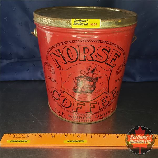 "Coffee Tin Pail ""Norse"" (8-1/2""H x 8""Dia)"
