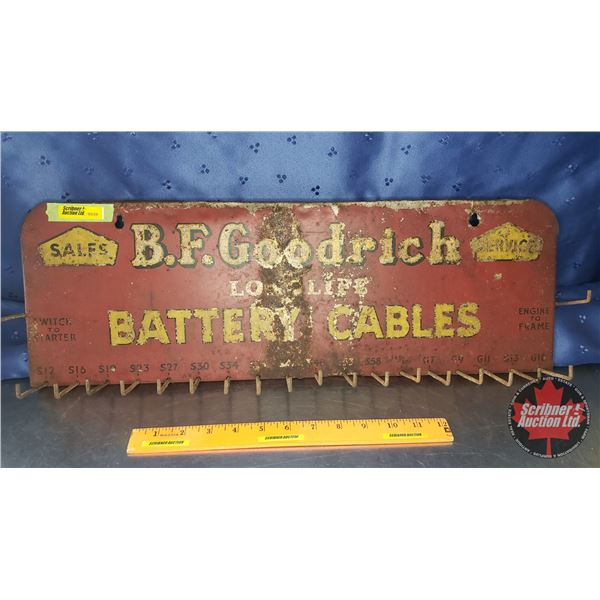 """Single Side Tin Sign Store Display Rack """"B.F. Goodrich"""" Long Life Battery Cables (8""""H x 22-1/2""""W x 1"""