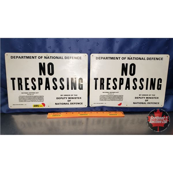 """Single Side Tin Signs (2) """"Department of National Defense"""" """"No Trespassing"""" (13""""W x 9""""H)"""