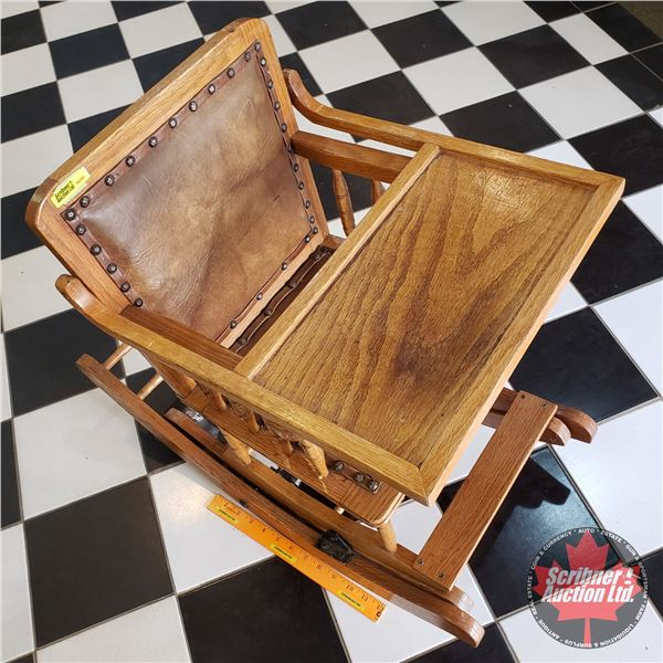 """Antique Collapsible High Chair / Rocker (28""""D x 13-1/2""""W x 24""""H in collapsed position)"""