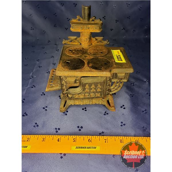 """Cast Iron Toy Stove """"Queen"""" (6""""W x 6-1/2""""H x 4-1/2""""D)"""