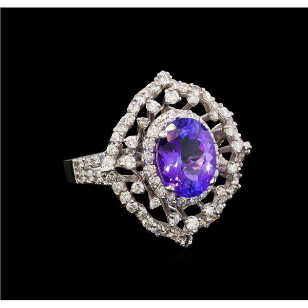 14KT White Gold 4.04 ctw Tanzanite and Diamond Ring