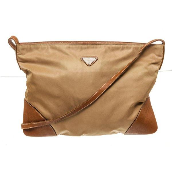 Prada Brown Leather Large Crossbody Bag
