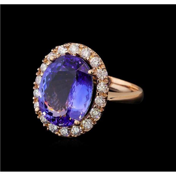 9.61 ctw Tanzanite and Diamond Ring - 14KT Rose Gold