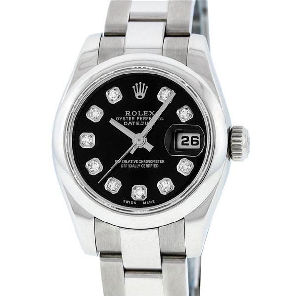 Rolex Ladies Stainless Steel Black Diamond Quickset Datejust Wristwatch 26MM