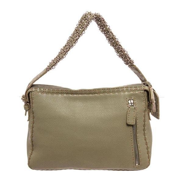 Fendi Green Leather Selleria Shoulder Bag