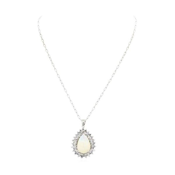 16.34 ctw Opal And Diamond Pendant & Chain - 14KT White Gold