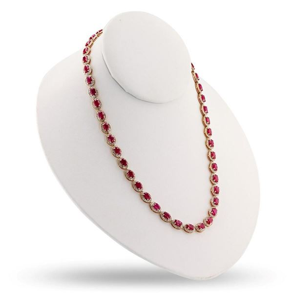 24.87 ctw Ruby and 4.38 ctw Diamond 14K Yellow Gold Necklace