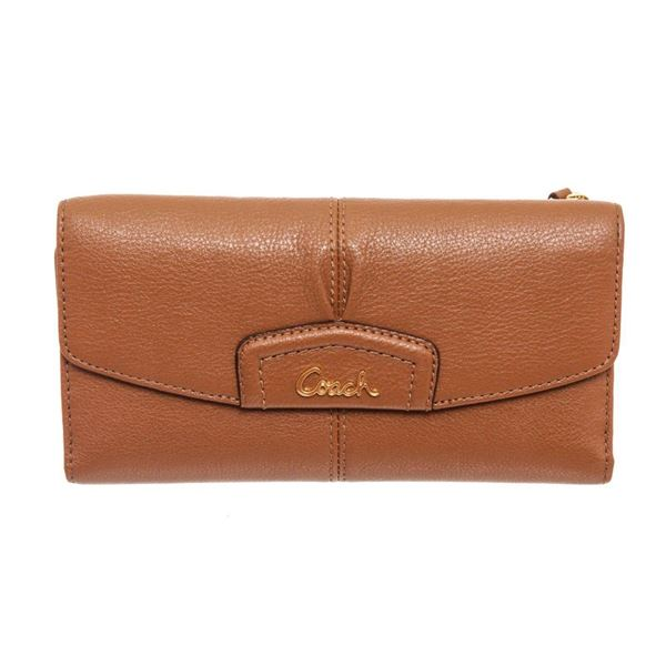 Coach Brown Leather Ashley Checkbook Wallet