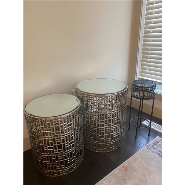 """Decorative Side Table Pair (Biggest is 17"""" Diameter 20""""H) and Plant Stand."""